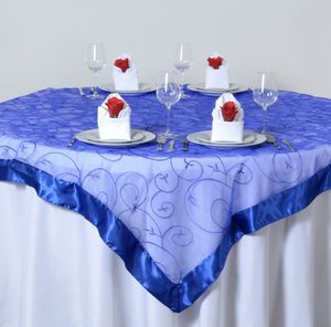 Blue overlay linen: wedding or party decor rental