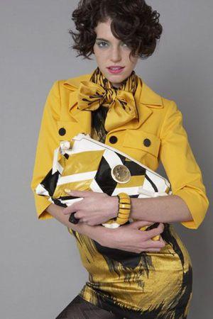 Gucci Hysteria Clutch Yellow/Black/White
