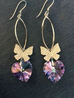 Amethist Hearts 💜 and Sterling Silver CZ Butterflies earrings / New beautiful high shine 💜 🦋