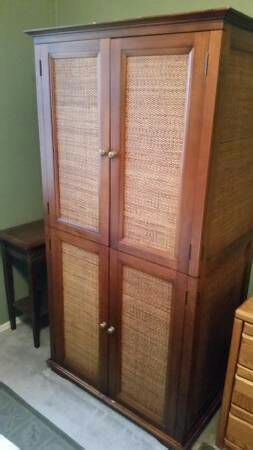 Pier 1 Imports Wicker & Wood Armoire TV Stand/ Cabinet (Furniture ...