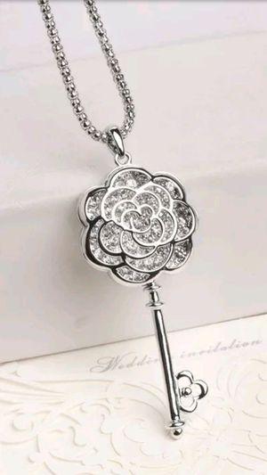Betsey Johnson Crystal Rose Flower Key Necklace