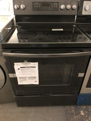 "30"" new ge stove electric black stainless steel with 1 year warranty"