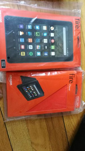 Unopened box! Kindle fire tablet, covers and screen guards