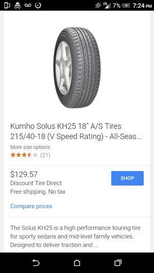 Kumho solus KH25 85V 215/40/R18