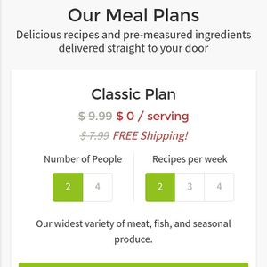 Free HelloFresh box! 2 person, 2 meal plan