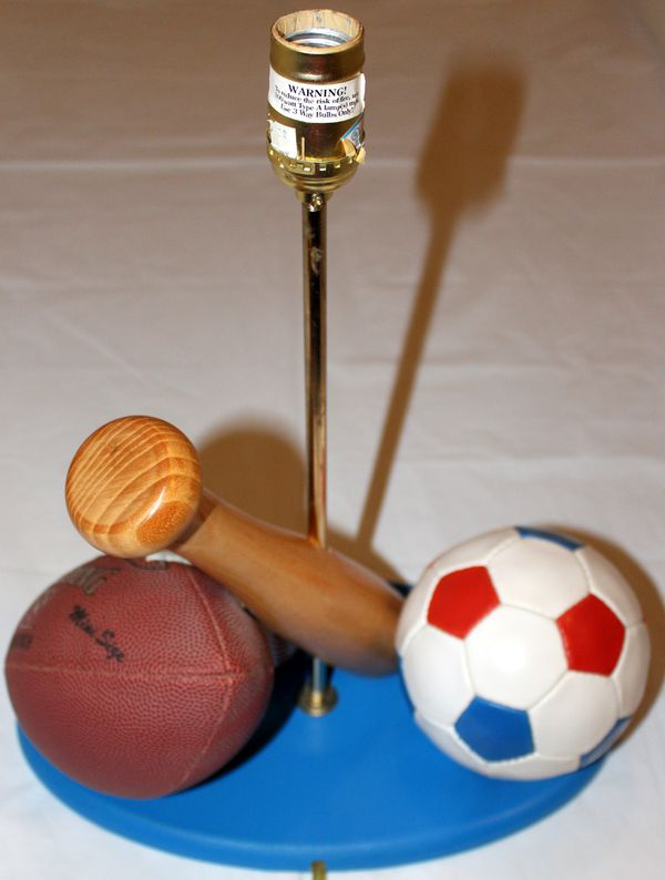 Sports Lamp with Baseball, Bat, Football, and Soccer Ball ...