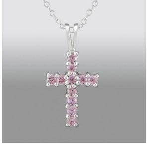 Girls Pink Cubic Zirconia Cross Pendant in Sterling Silver