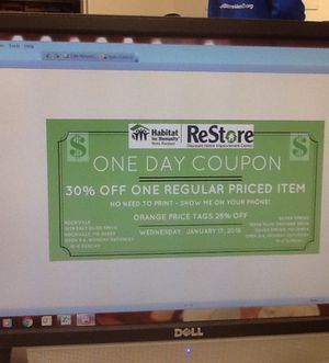 One Day Coupon at Habitat for Humanity ReStore