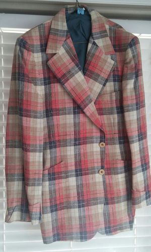 Seuenties Mens Pinkish Red*Navy*Tan Plaid Linen Sportscoat