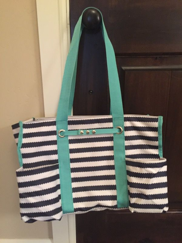 Thirty One Zip Top Organizing Utility Tote Navy Wave Jewelry