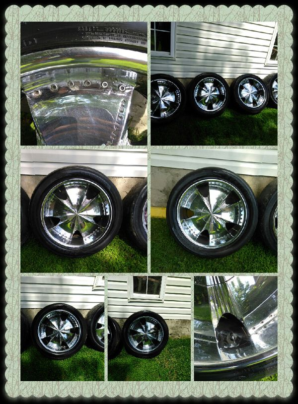 22 inch with 3 inch lip chrome rims an tires 6 lug