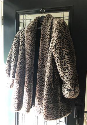 Faux Leopard swing coat