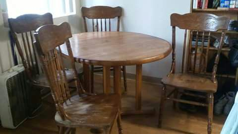 Antique Oak Dining Table  Chairs Made In Yugoslavia