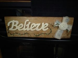 Rustic Believe sign with distressed cross