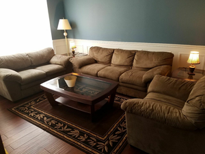 Three Piece Sofa set with tables