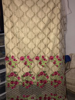Unstiched full front back embroidered net dress fabric