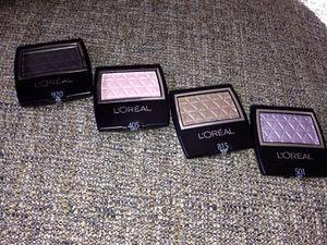 Set#2 Eye Shadows L'Oréal the colors *920 LUSH RAVEN NOR VELOURS* 815 BRUISED SUEDE,SUEDE BROSSE *405 TAFFETA,TAFFETAS* 501 VIOLET PETAL,PETALE DE VIO