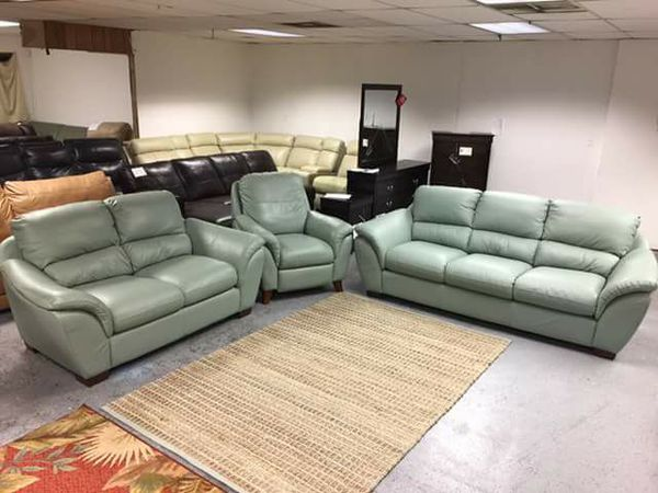 Blue LA Verona Genuine Leather 2 PC Living Room Set Couch And Love Seat