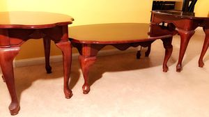 Make An Offer - wooden queen Ann coffee table / 2 night stands