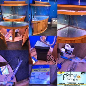 92 gallon corner Bowfront Aquarium fish tank complete set up $700