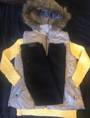 Vest / pullover / skinny jeans set for 8-10 yrs old girls