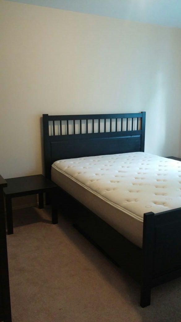 ikea bedroom set queen bed w matress dresser two end tables