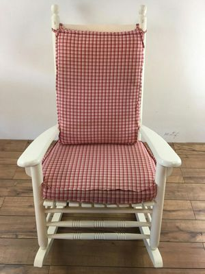 Vintage Custom Made White Painted Wood Rocking Chair, bearing a red and white checkered cushion, with slats, maker unknown (1011695)