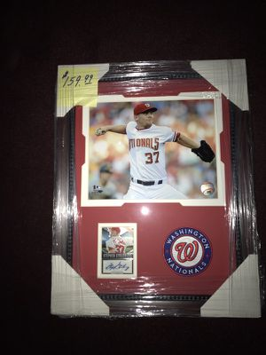 Stephen Strasburg Framed 8x10 Photo w Autographed Baseball Card and Washington Nationals Embroidered Patch! Very Nice Collectible!