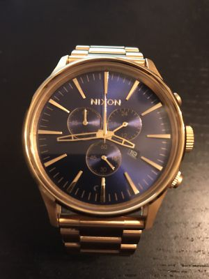Nixon Sentry Chrono A386-1922 Gold and Sunray Blue Watch New