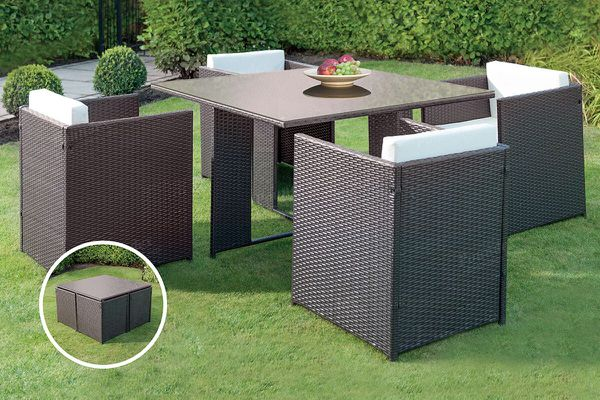 5 piece outdoor wicker patio dining table set hidden chairs