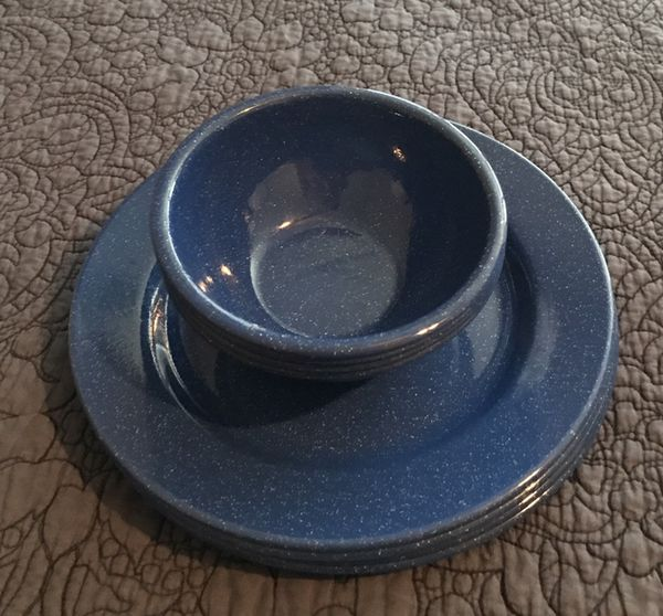Blue Enamel Camping Dishes Campers RVs In Escalon CA