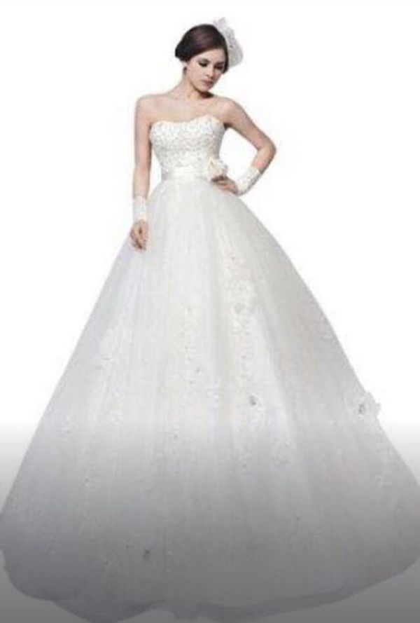 Wedding Dress Ball Gown Tulle Lace Princess sz 24 (Clothing & Shoes ...