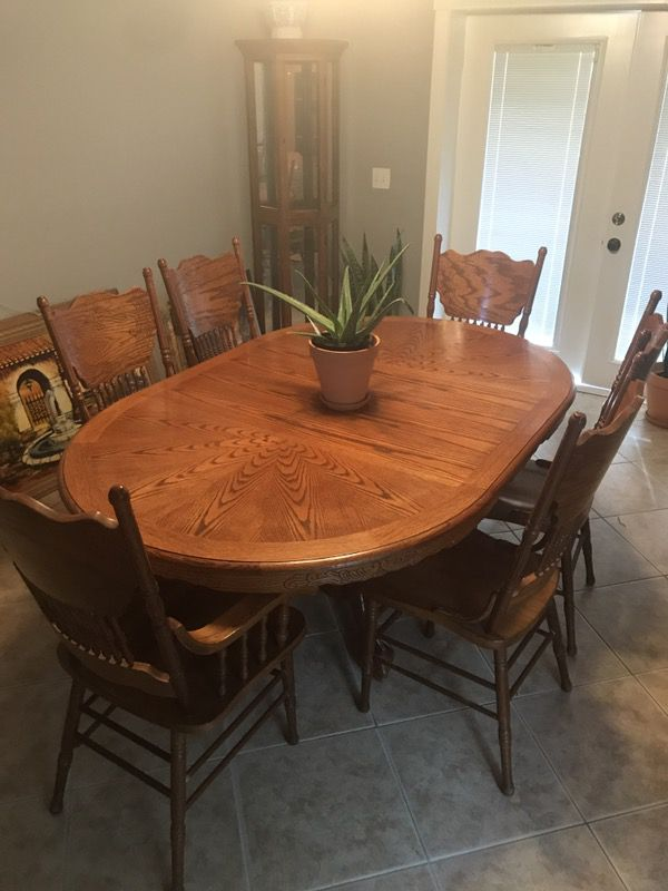 Hand Crafted Oak Wood Dining Table Set W Matching Handcrafted China Cabinet