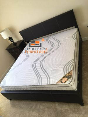 Brand New King Size Leather Platform Bed + Pillowtop Mattress