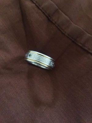 Greek Key Engraved Ring Silver & Gold