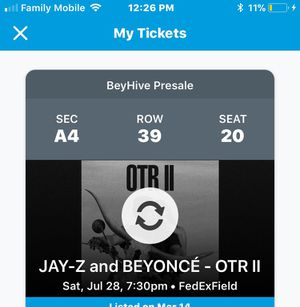 Beyoncé and Jay-Z Tickets SECTION A4 ROW 39 SEAT 20 $1000