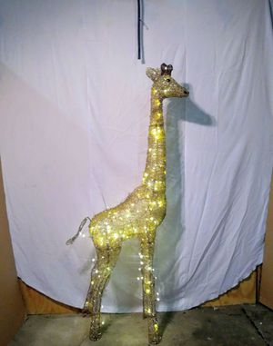 New 73 in. LED Lighted Gold Grapevine Giraffe