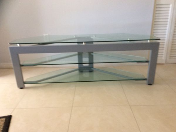 Glass table tv holds 70 to 80 inch tv dimensions Length 4 10