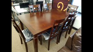 Brand new in box cherry color 7-piece complete dining room set table and 6 chairs
