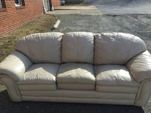 Solid leather couch
