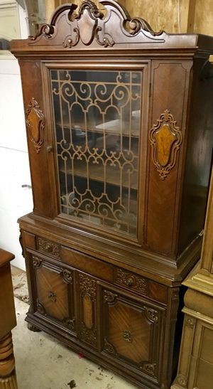 Antique Jacobean carved wood china cabinet buffet curio