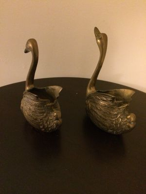 Two Antique Brass Swans