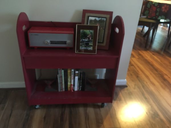 Red bookshelf, cart