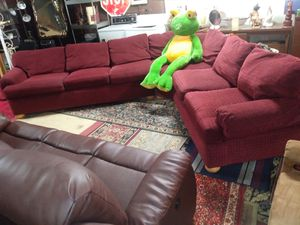Large maroon three piece sofa sectional living room set for sale