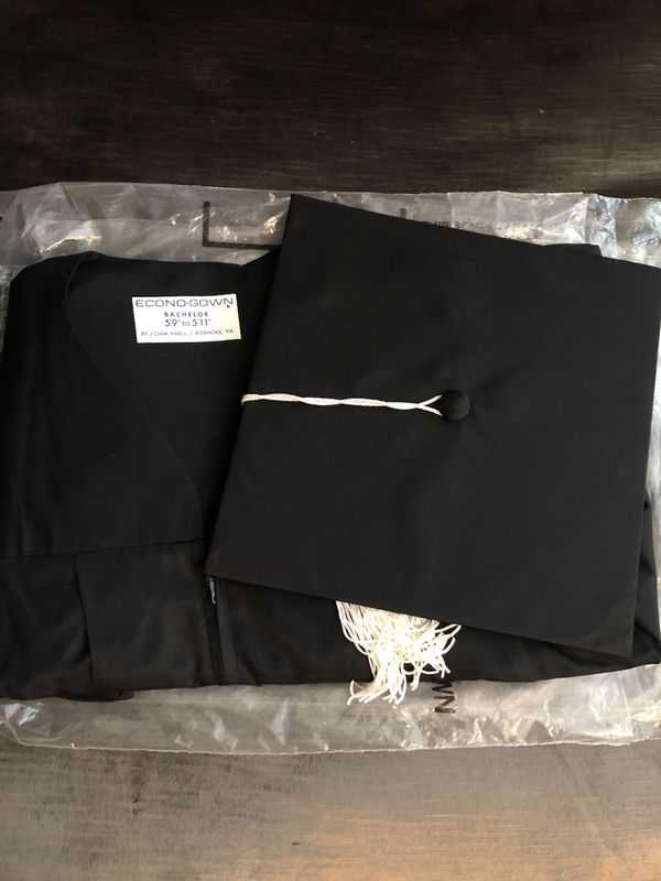 NEW Oak Hall Black Graduation Gown, Cap & Cap with white Tassel ...
