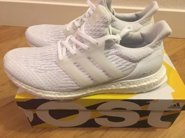 Adidas Ultra Boost All White w/Black Sole
