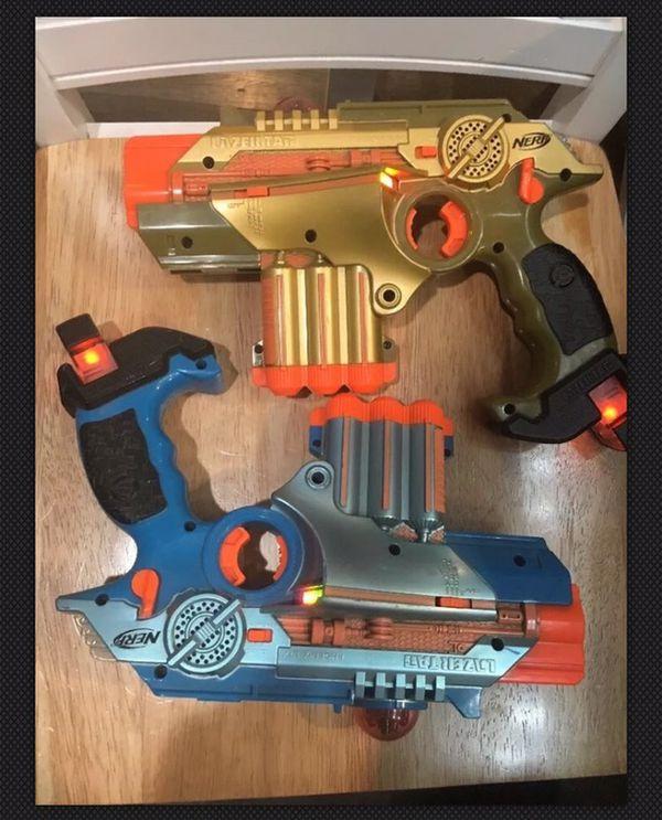 2 Tiger Nerf Lazer Tag Guns LTX Phoenix Blue & Gold Laser Gun Shotguns 1  Scope