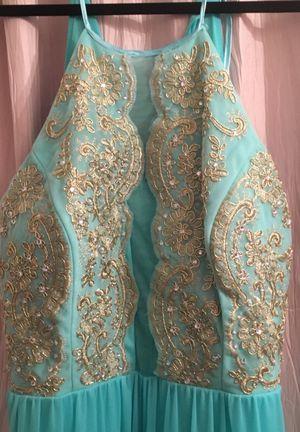 Aqua Marine and gold dress size 17