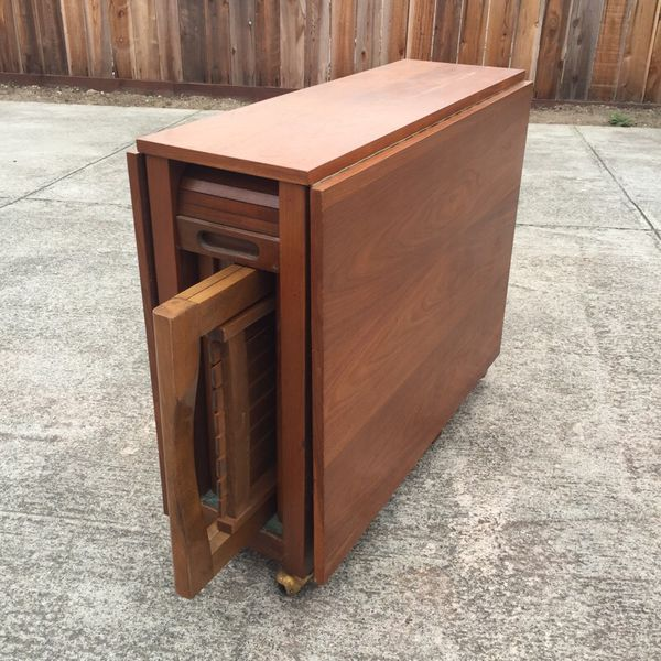 Rare Mid Century Romanian Drop Leaf Table W 4 Hideaway