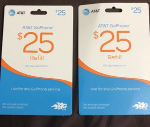 AT&T GoPhone Refill $25 value (quantity 2)